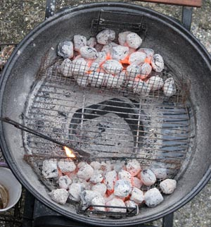 Briquettes in place for cooking